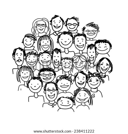 Group of people, sketch for your design. Vector illustration - stock vector