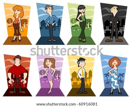 Group of people stand wearing colorful clothes - stock vector
