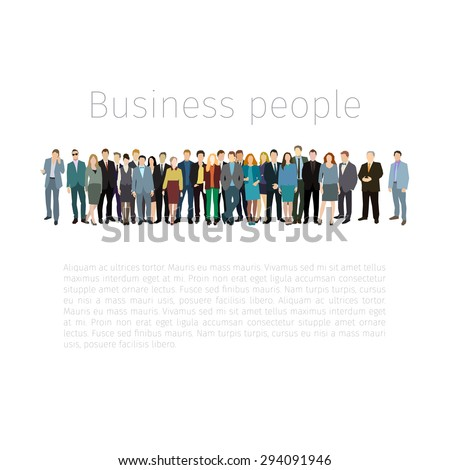 Group of people standing in a row. Vector illustration. Flat design.