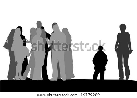 group of people standing on the top of the  hill - stock vector
