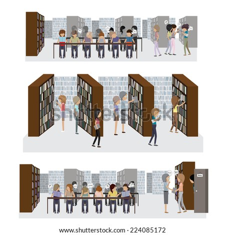 Group Of People Studying At The Library - Vector Illustration, Graphic Design Editable For Your Design - stock vector