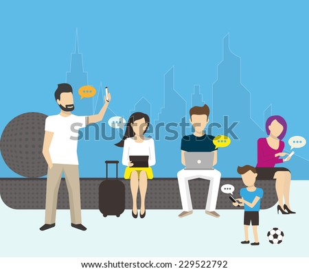 Group of people using smartphones, laptops and tablet pc. Flat vector illustration of modern men and  women sitting on the street and using mobile devices for chatting or sending email