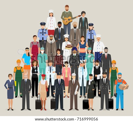 Group of people with different occupation. Employee and workers characters standing together. Vector illustration.