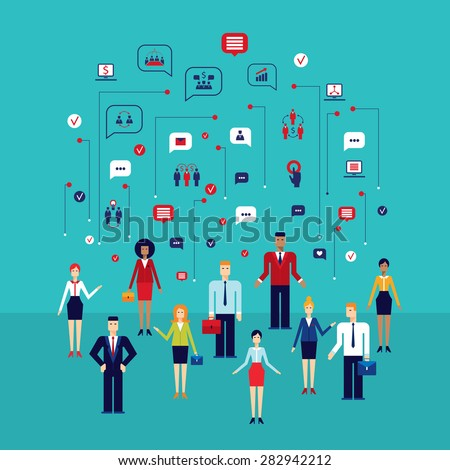 Group of people with icons Social network Communication Successful business concept - stock vector