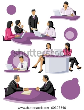 group of people working - stock vector