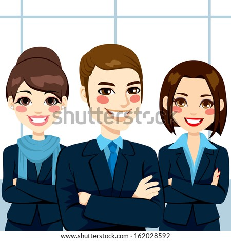 Group of positive confident business man and women team standing with arms crossed - stock vector