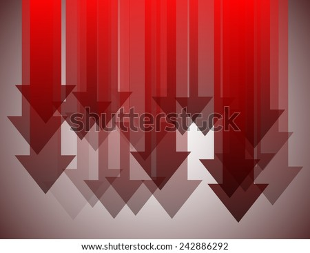 Group of red arrows pointing down - stock vector