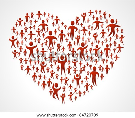 Group of red people forming a big heart - stock vector
