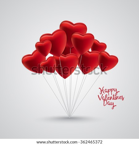Group of red satin balloon hearts on strings with happy valentines day text on the side. Gray background and shadow. - stock vector