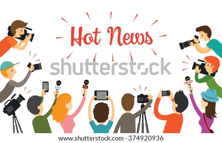 Group of Reporter, Journalist with Camera, Camcorder and Microphone, Press, Mass Media, Global Communication, Broadcasting - stock vector