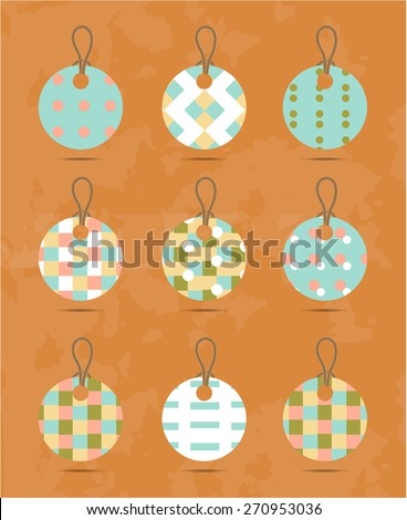 Group of retro, isolated tags on orange background