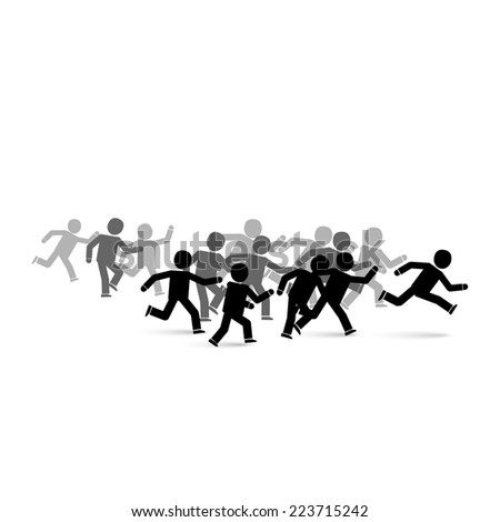 Group of runners / running people illustration