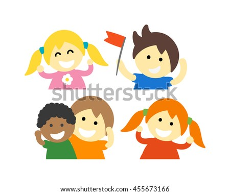 Group of school kids children together. Different nations happy character together concept vector. Little cute primary school children. School kids positive smiling children - stock vector