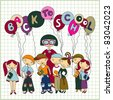 "Group of schoolchildren and  their teacher with balloons with text ""back to school"" on paper  in a cell background. Sketchy vector. Color version - stock vector"