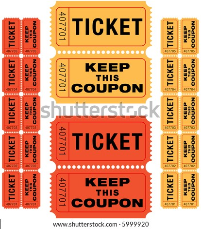 group of sequentially numbered raffle tickets in red and yellow. - stock vector