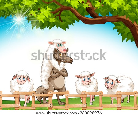 Group of sheeps with a wolf at the field - stock vector