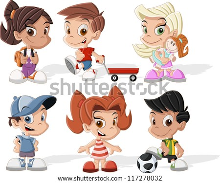 Group of six cute happy cartoon kids - stock vector