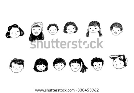 Group of sketch people face set - stock vector
