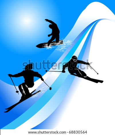 Group of skiers coming down the mountain road; - stock vector