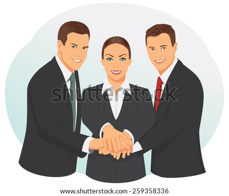 Group of smiling business people are showing unity with their hands - stock vector