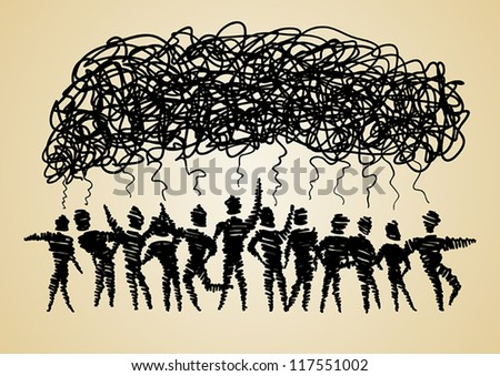 Group of spiral men thinking - stock vector