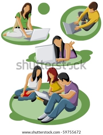 Group of students - stock vector