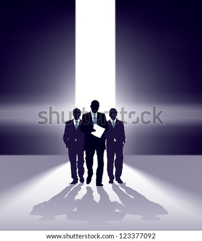 Group of successful businessmen comes through bright gap - stock vector