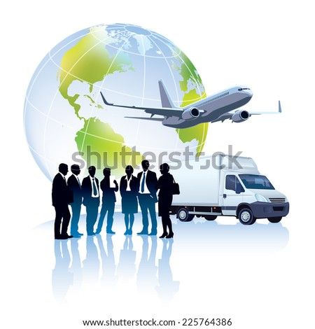 Group of successful people are standing in front of delivery truck, commercial airplane and world globe - stock vector