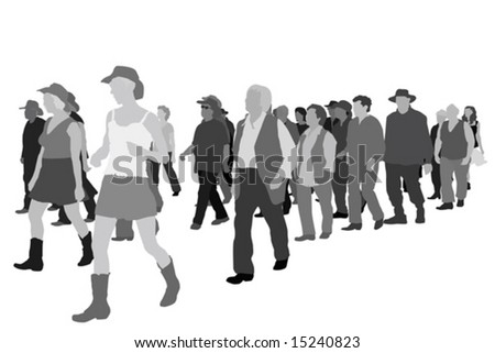 group of surprised people - stock vector