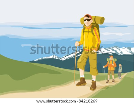 Group of three hikers in the mountain - trekking adventure. Vector illustration - stock vector