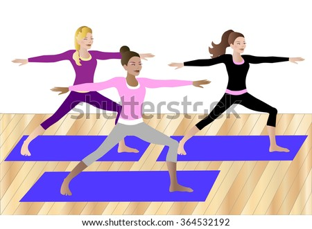 Group of three women doing warrior pose on mats together