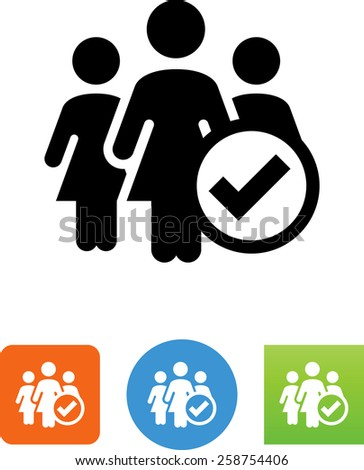 Group of three women with checkmark symbol. Vector icons for video, mobile apps, Web sites and print projects.  - stock vector