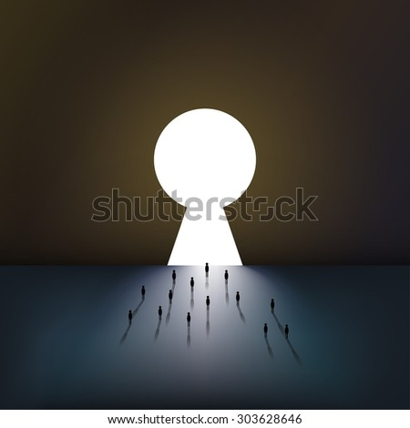 Group of tiny people walking into a gate shaped like a keyhole - stock vector