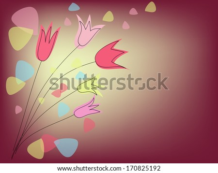 group of tulips on purple background - stock vector