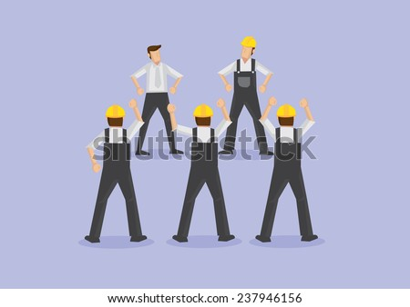 Group of unhappy workers on strike and having confrontation with foreman and supervisor  - stock vector