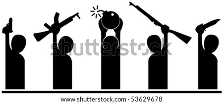 Group of vector cartoon silhouettes holding weapons - stock vector