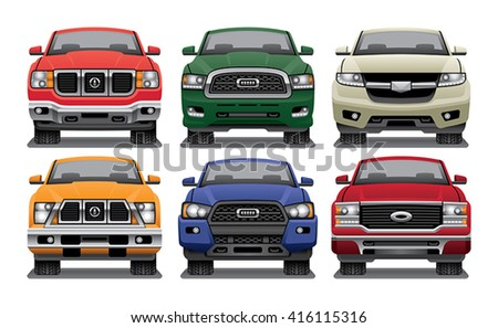 Group of vector drawings of the fronts of modern pickup trucks. - stock vector