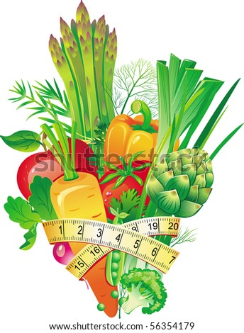 Group of vegetables tied up with measuring tape - stock vector