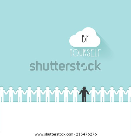group of white figures holding hands with one black figure on blue background- be yourself inspirational vector illustration - stock vector