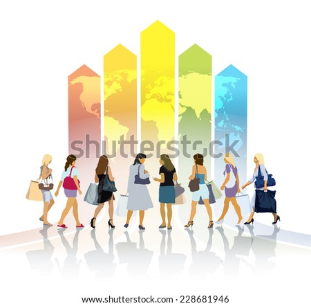 Group of women with shopping bags going to a large colorful chart