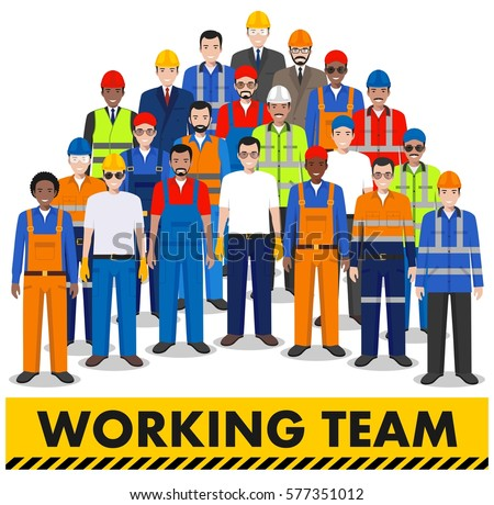 Group of worker, builder and engineer standing together on white background in flat style. Working team and teamwork concept. Different nationalities and dress styles. Flat design people characters