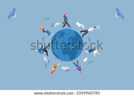 Group of working people traveling along the Earth globe. Conceptual illustration metaphor of globalization and labor mobility.
