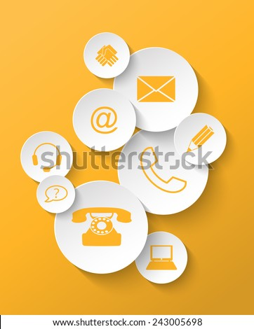 Group of yellow contact icons stickers vector illustration eps 10 with transparency