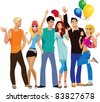 group of young happy people, hands up - stock vector