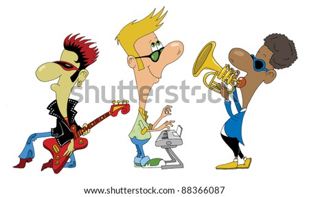 group of young musicians perform lively dance song; - stock vector
