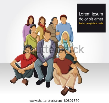 Group of young people - stock vector