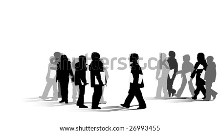 group of young students silhouette - stock vector