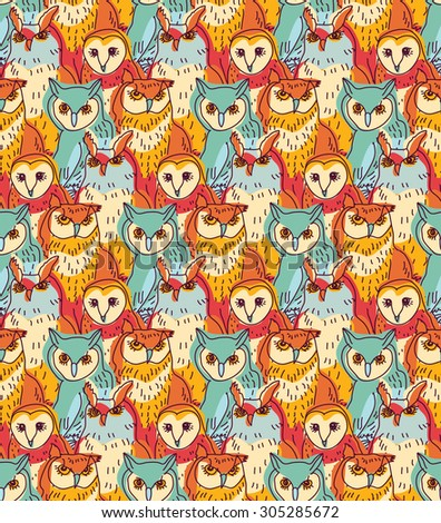 Group owl color seamless pattern. Seamless pattern with big group owls. Color vector illustration. EPS8. - stock vector