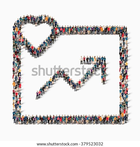 group  people  shape graph - stock vector