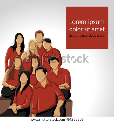 Group people wearing red clothes - stock vector